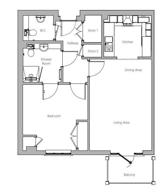 New Build, Apartment 50 Brook House Floorplan