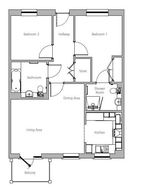 New Build, Apartment 58 Brook House Floorplan
